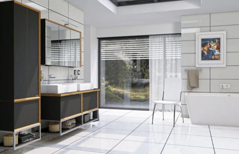 Temno kopalniško pohištvo v beli sodobni kopalnici