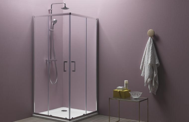 Steklena tuš kabina ob roza steni